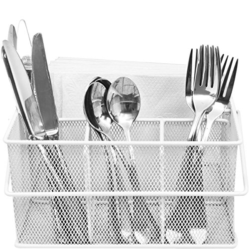 Sorbus Utensil Caddy — Silverware, Napkin Holder, and Condiment Organizer — Multi-Purpose Steel Mesh Caddy—Ideal for Kitchen, Dining, Entertaining, Tailgating, Picnics, and much more (White)