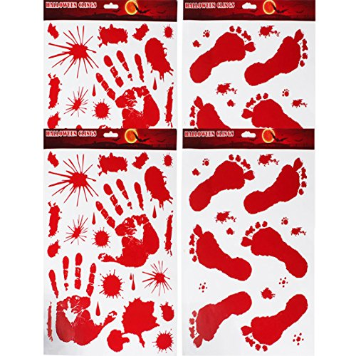 Urbebe 2 Pcs Bloody Handprints 2 Pcs Bloody Footprints Static Cling Stickers Halloween Decorations Decals Party Supplies Windows Tile Floor (#1)