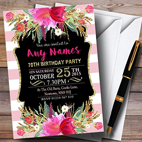 Pink & White Striped Floral 70th Personalized Birthday Party Invitations -