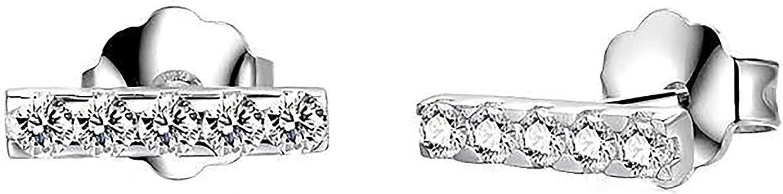 925 Sterling Silver Stud Earrings, BoRuo Mini Bar Line Stick Earrings High Polish Tarnish Resistant Earrings
