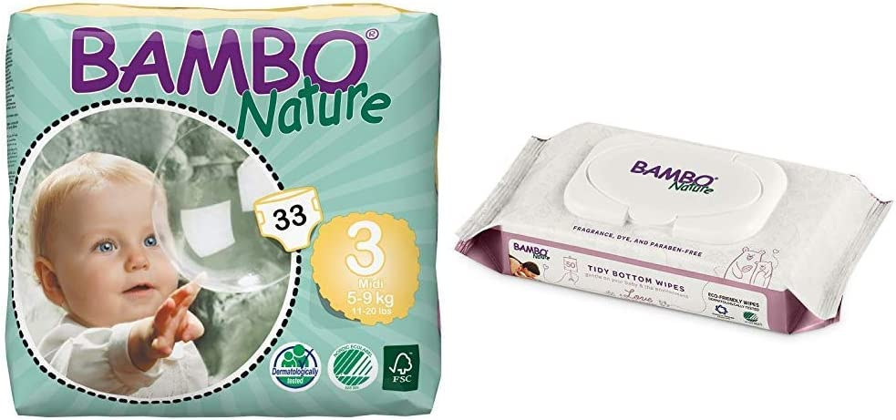 Bambo Nature Baby Diapers Classic, Size 3 (11-20 lbs), 33 Count with Bambo Nature Tidy Bottoms Baby Wipes 50 Sheets