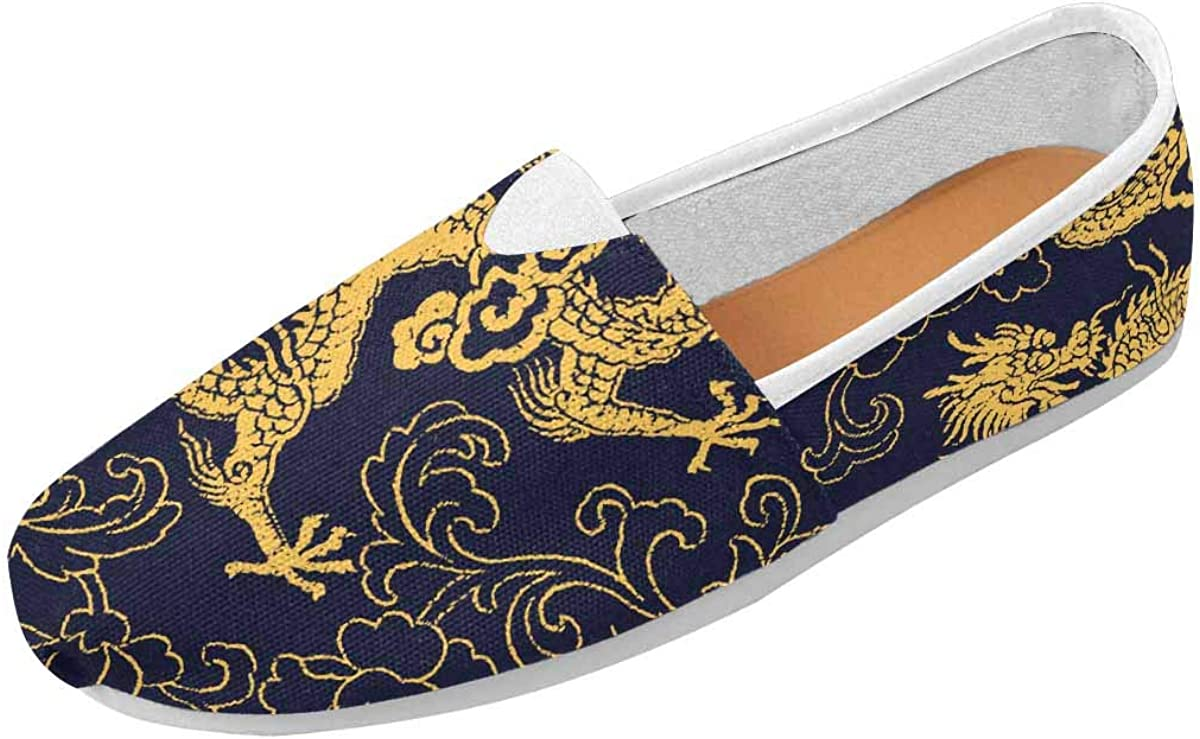 InterestPrint Chinese Traditional Golden Dragon and Peony Women's Go Walk Slip-On Loafers Casual Shoes Size 4.5~Size 14