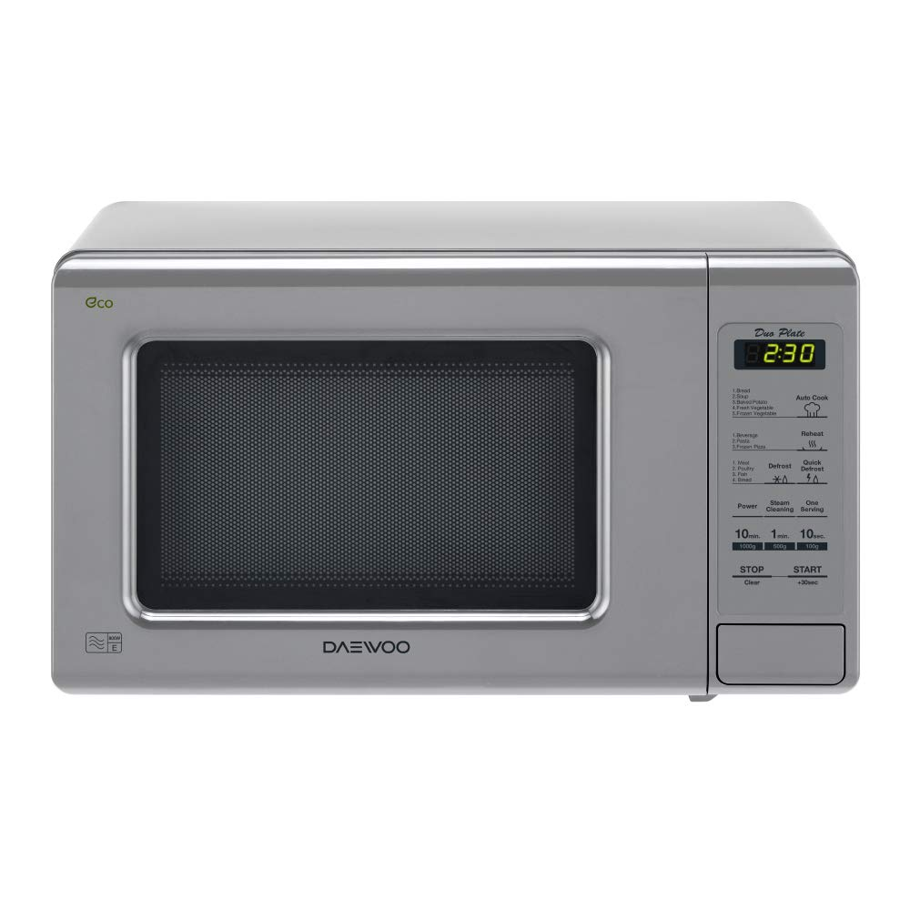 Daewoo KOR6M1RDSLR Duo-Plate Touch Control Microwave, 800 W, 20 Litres, Silver