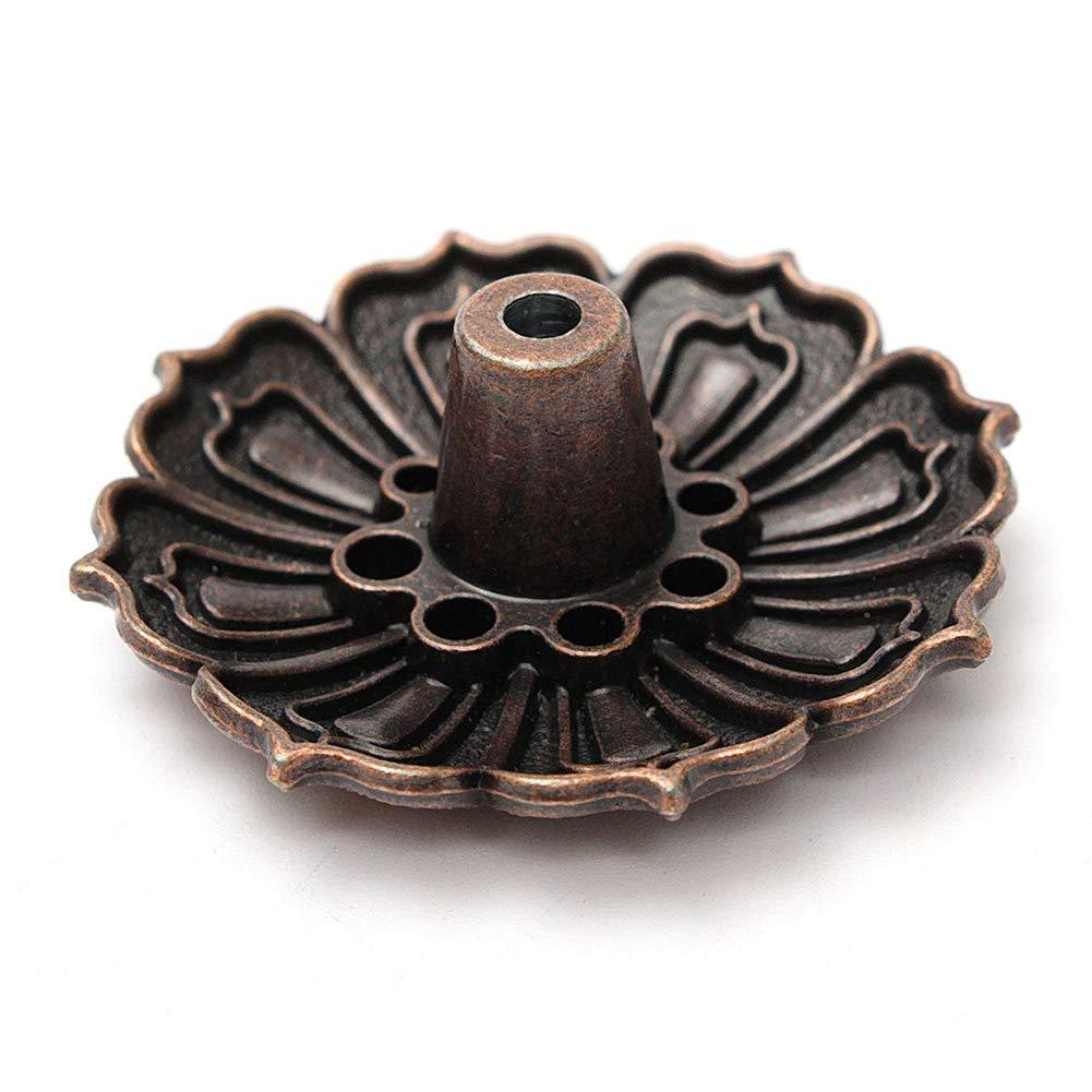 9fori porta incenso Lotus porta incenso Censer supporto cenere vassoio piatto per cono bruciatore di incenso Titolare rame regalo di Natale SDYDAY