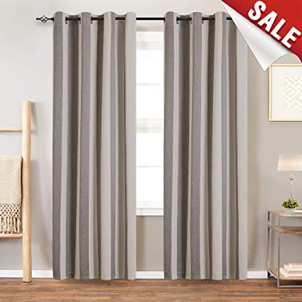 jinchan Beige & Grey 84-Inch-Long Curtains Drapery Window Grommet Treatment  Set for Living Room Thermal Insulated Room Darkening Light Blocking ...