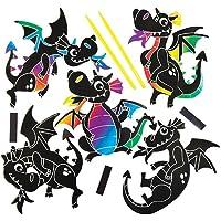 Baker Ross Kit d'aimants Dragons à gratter Que Les Enfants pourront fabriquer et Exposer - Kits de Loisirs créatifs pour Enfant (Lot de 10)