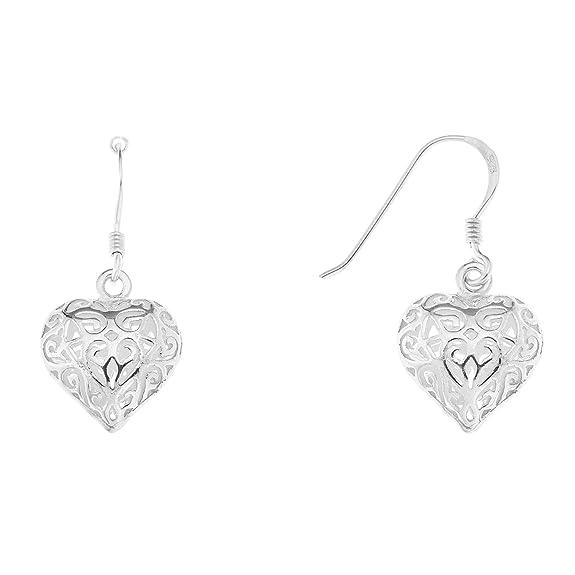 Ornami Filigree Open Heart Hook Wire Sterling Silver Earrings tlBsycS