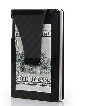Tarjetero Hombre Carteras Hombre Pequeña Super Delgado Clip de Dinero de Fibra de Carbono con RFID Bloqueador Billeteras Hombre Monedero con Caja de Regalo: ...