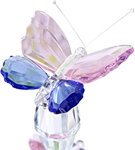 H&D Crystal Butterfly Figurine Collection Animal Statue Home Glass Table Decoration