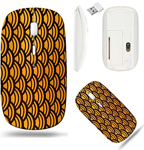 Liili Wireless Mouse White Base Travel 2.4G Wireless Mice with USB Receiver, Click with 1000 DPI for notebook, pc, laptop, computer, mac book IMAGE ID: 20450086 Orange and black seamless scalloped pat ()