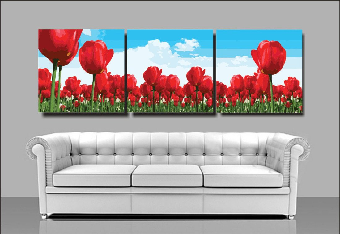YEESAM Art New Paint by Numbers for Adults 3 Piece Pack Panel - Red Tulips Flowers 16x16 inch Linen Canvas - DIY Painting Three Pieces Multipack Wall Art (with Frame)