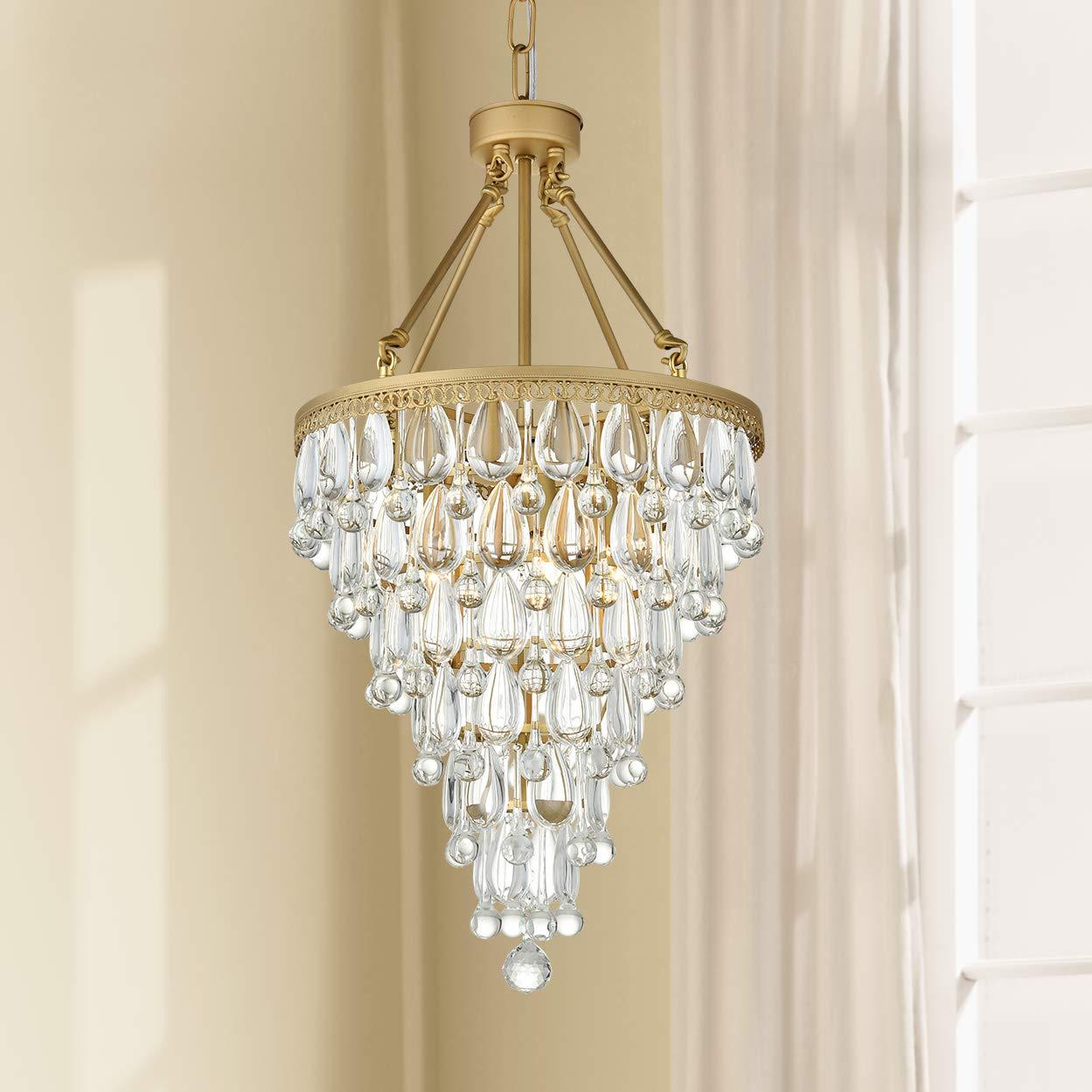 Modern clear crystal raindrop round gold chandelier flush mount led ceiling light fixture pendant lighting lamp for dining room bathroom bedroom livingroom