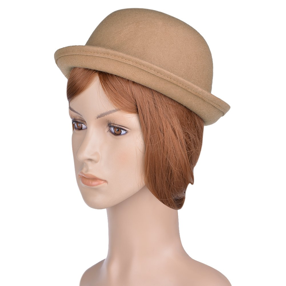 VBIGER Bowler Hat Fedora Hats Winter Roll-up Brim Derby Hats for Women
