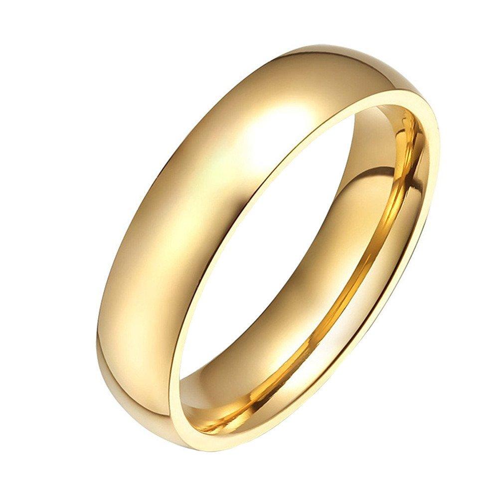 HIJONES Gioielleria Donne Acciaio Inossidabile 18K Oro Placcato Anello di Nozze 33RLZ-001