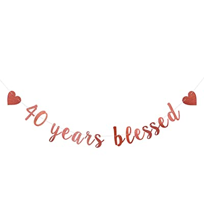 Glitter 40 Years Blessed Birthday Banner-Great for 40th Birthday Wedding Party Decorations -Funny Forty Birthday Sign Party Decor: Toys & Games