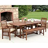 Solid Wood Garden Furniture WE Furniture Solid Acacia Wood 6-Piece Patio Dining Set