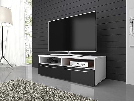 Mueble para TV mueble para armario mueble para televisor Vannes (100 cm, cuerpo blanco mate/frentes en negro alto brillo), madera, Without LED, 100 cm: Amazon.es: Hogar