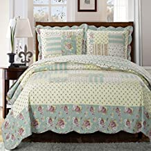 """Annabel Queen Size, Over-Sized Quilt 3pc set 92x96"""", Luxury Microfiber Printed Coverlet by Royal Tradition"""