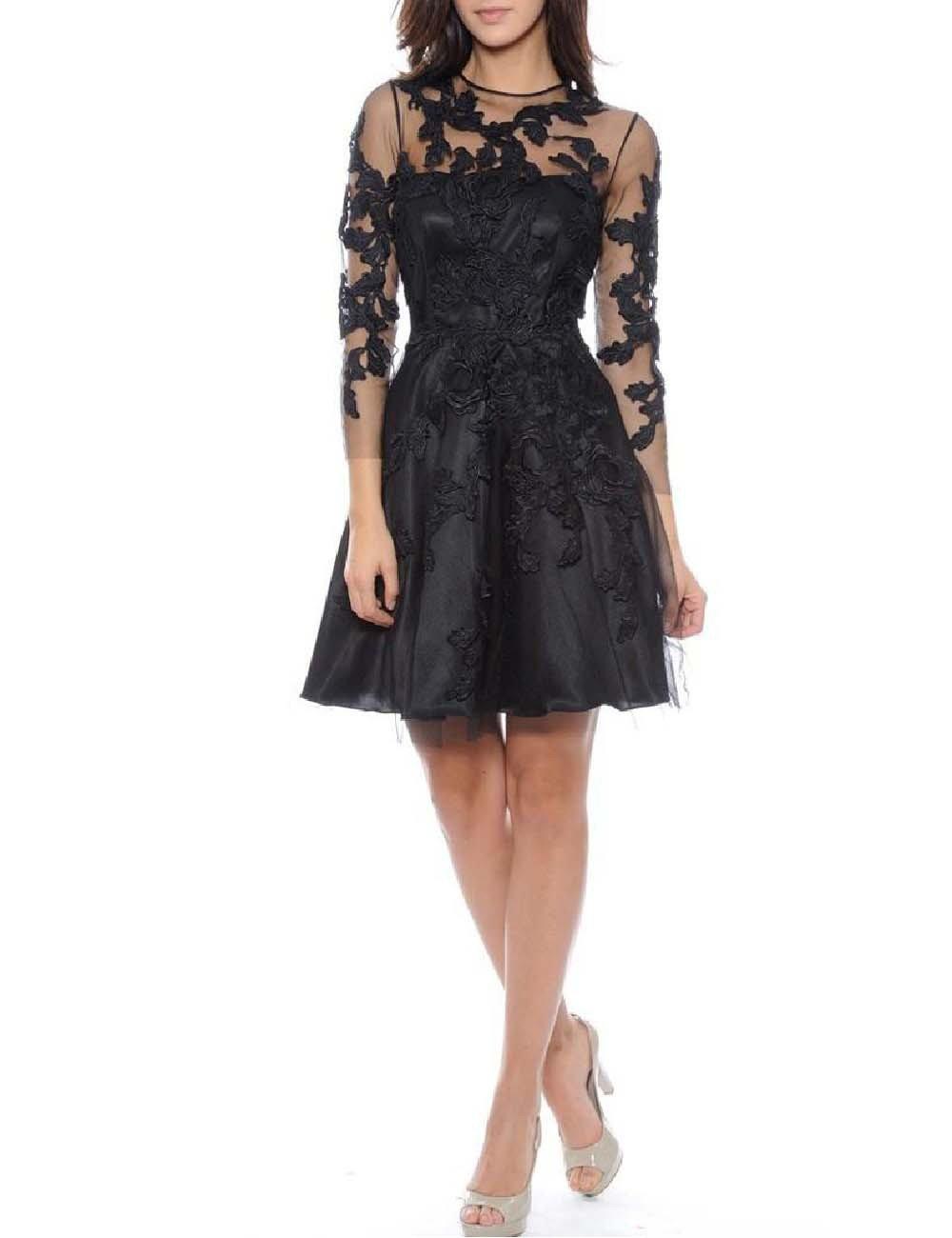 Udresses Women's Long Sleeve Lace Cocktail Short Formal Evening Party Dress FX30 Black 16