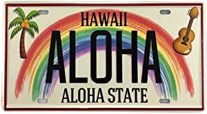 Angeloken New Retro Vintage License Plate Hawaiian Aloha State Tin Sign for Home Decor Wall Plaque 6''x12''