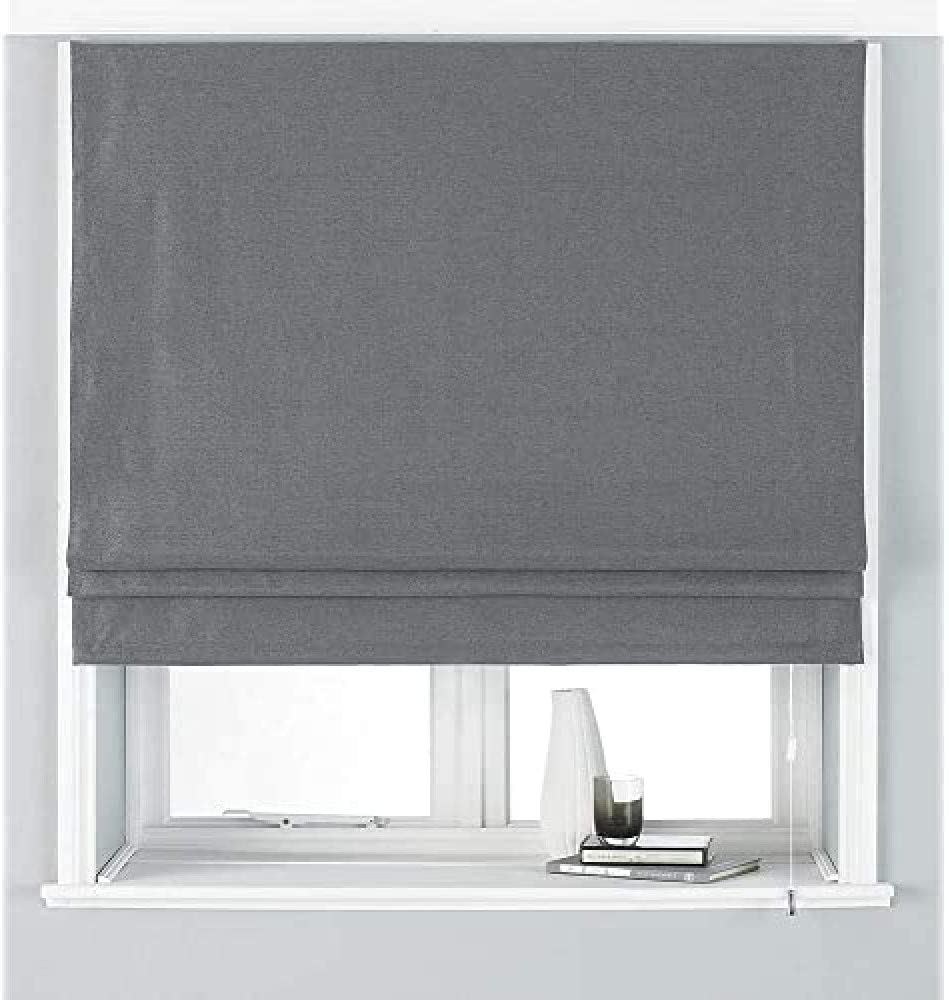 Riva Paoletti Paoletti Atlantic Deluxe Blackout Roman Blind, Grey, 91cm (Wide) X 137cm (Drop), Polyester, 91cm X 137cm Grey 91x137cm
