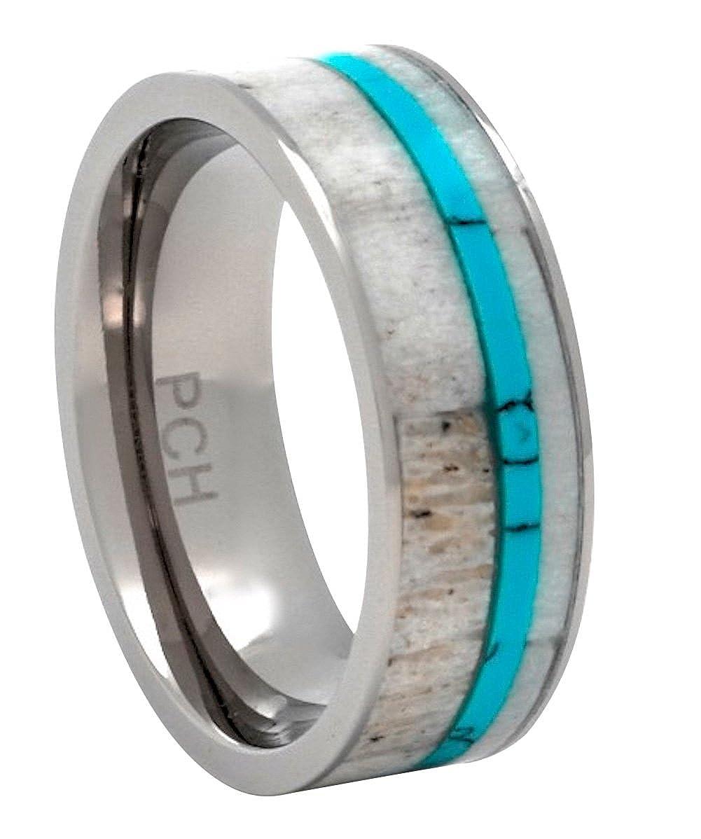 Amazon Pch Jewelers Deer Antler Ring Titanium Turquoise 8mm Wedding Band Or Gift Jewelry: Antler Wedding Ring Turquoise At Websimilar.org