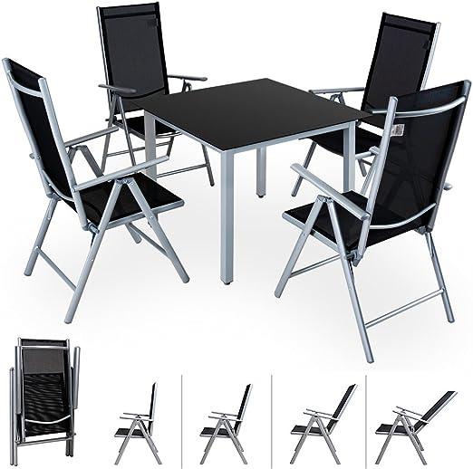 Casaria Conjunto de jardín 4+1 aluminio Bern juego de sillas plegables y mesa 90x90cm set jardín terraza balcón comedor: Amazon.es: Jardín