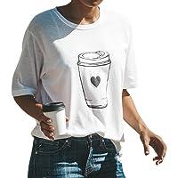 SANFASHION Soldes d'été Haut Coton Fille T-Shirt à Manches Courtes Col Rond Femmes Gilet Impression Expression Carton Blanc