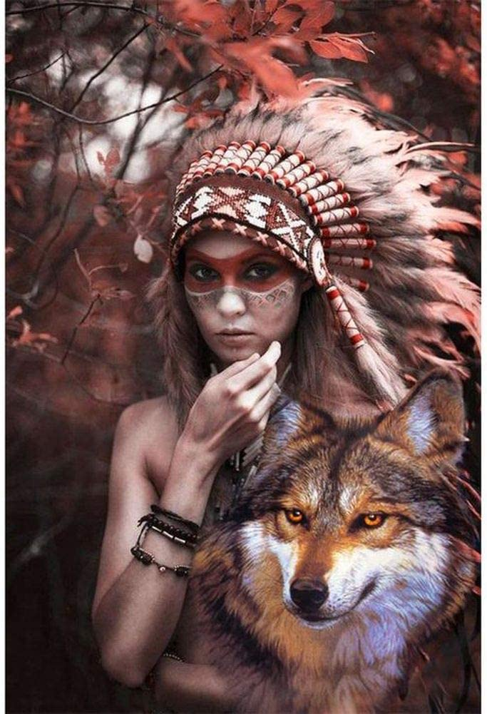 Diamond Painting Kit for Adult 5D DIY Full Round Drill Diamond Painting Sets Arts Craft for Home Decor Indian Women Wolf 11.8x15.7Inch