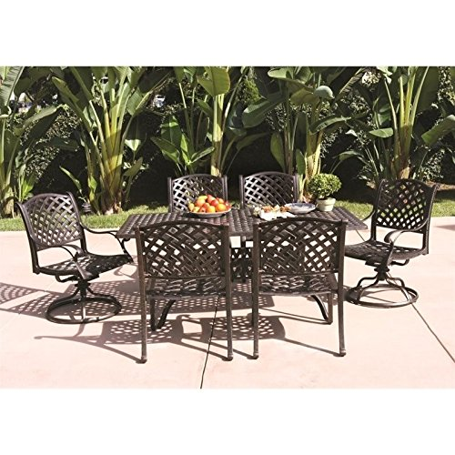 Darlee Nassau 7 Piece Patio Dining Set in Antique Bronze