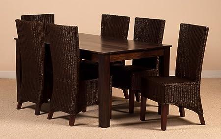 Mango Wood 6 Seater Table Indian Dark Brown Rattan Chairs Amazon