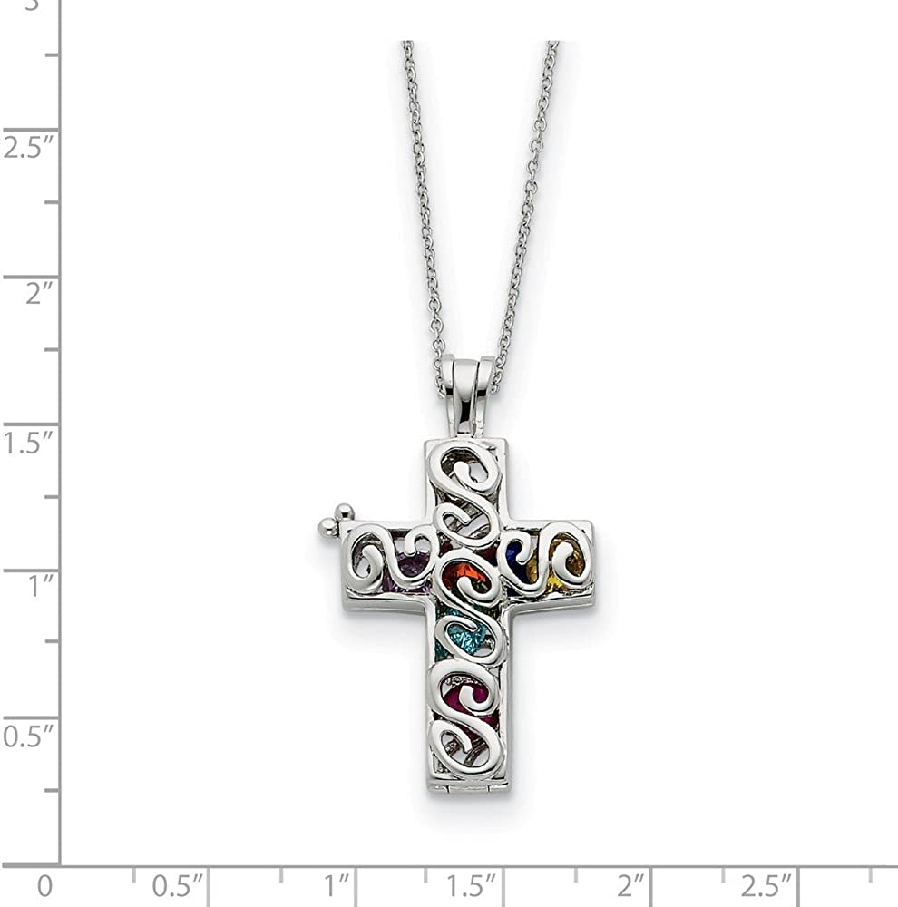 Sterling Silver CZ Promises of The Rainbow 18in Necklace and Pendant
