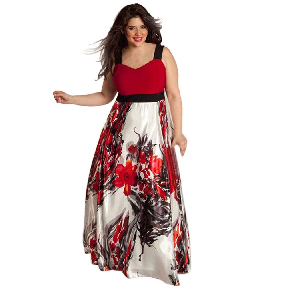 Yang-Yi Clearance, Hot Women Floral Printed Long Evening Party Prom Gown Formal Dress Plus Size (Red, 2XL)
