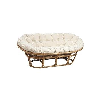 Aubry Gaspard Rattan Papasan Chair With Cushion Cream 2 Seater Sofa