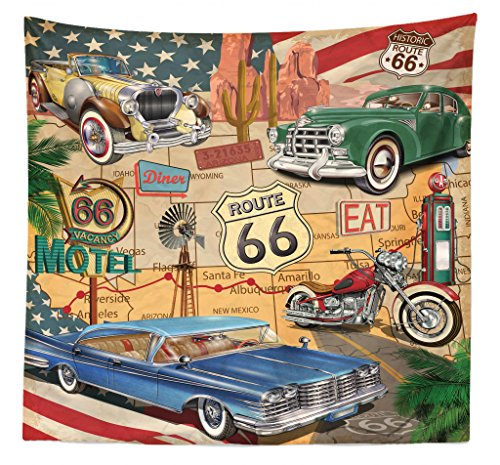(Lunarable Route 66 Tapestry Queen Size, Old Fashioned Cars Motorcycle on A Map Road Trip Journey American USA Concept, Wall Hanging Bedspread Bed Cover Wall Decor, 88 W X 88 L Inches, Multicolor)