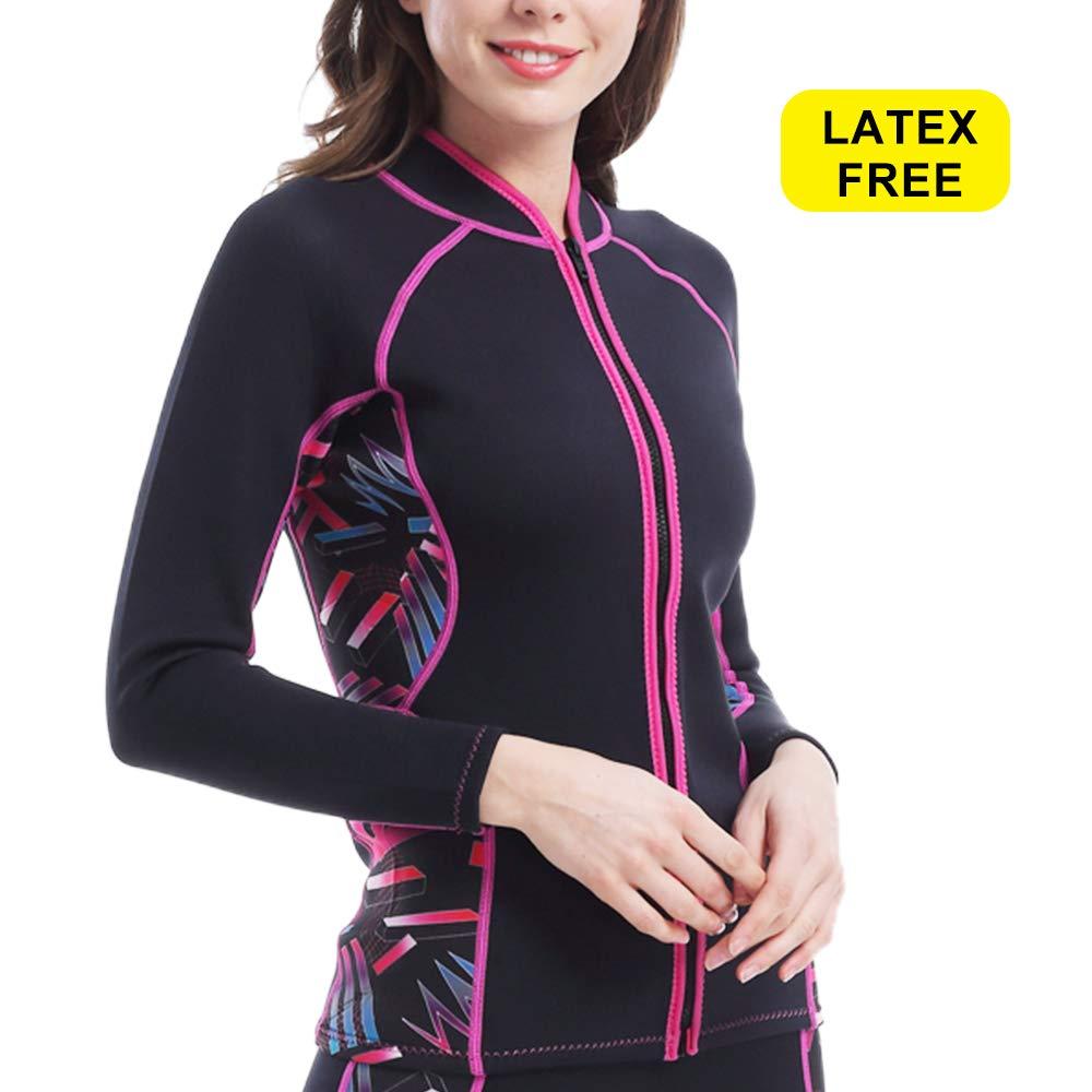 L Sports Women Neoprene Sauna Suit Top Workout Coat Running Jacket Full Zip