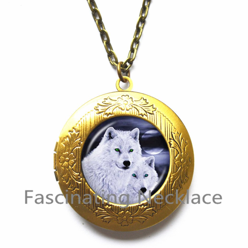 Howling Wolf Locket Necklace Wolves Jewelry Full Moon behind Mountain Photo Locket Pendant Glass Cabochon Long Chain Animal Statement Locket Necklace,AQ177