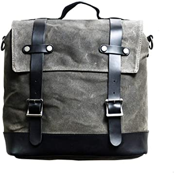 Jfzs Multifunktions Canvas Motorradtasche Seitentasche Satteltaschen Schulter Umhängetasche 1 Taschen 30 30 15 Cm Gray Küche Haushalt