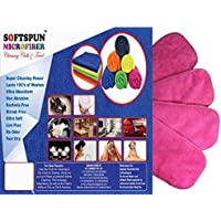 SOFTSPUN Microfiber 4 Layer Baby Diaper Inserts for Cloth Diaper, Pocket Diaper Set of 4, Large, Age 4-30 Months, Pink