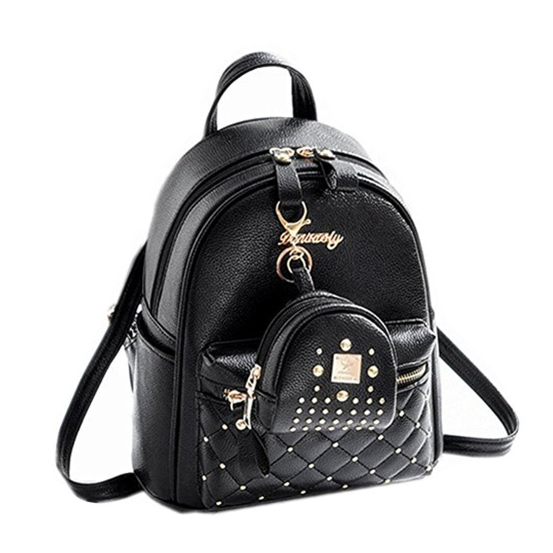 38ad39d7cce Cute Small Backpack Mini Purse Casual Daypacks Leather for Teen and Women  Black