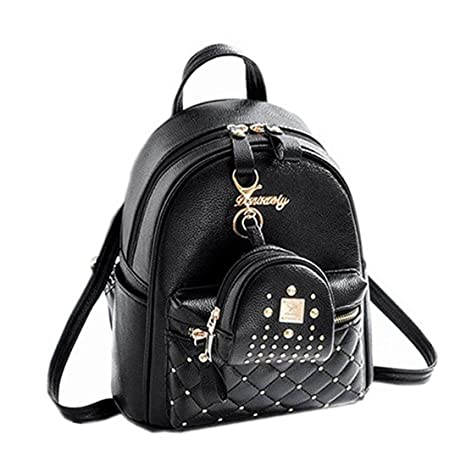 4cecf97d3530 Cute Small Backpack Mini Purse Casual Daypacks Leather for Teen and Women  Black  Amazon.ca  Luggage   Bags