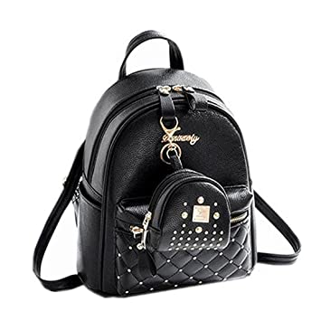 35745d21e3e Cute Small Backpack Mini Purse Casual Daypacks Leather for Teen and Women  Black