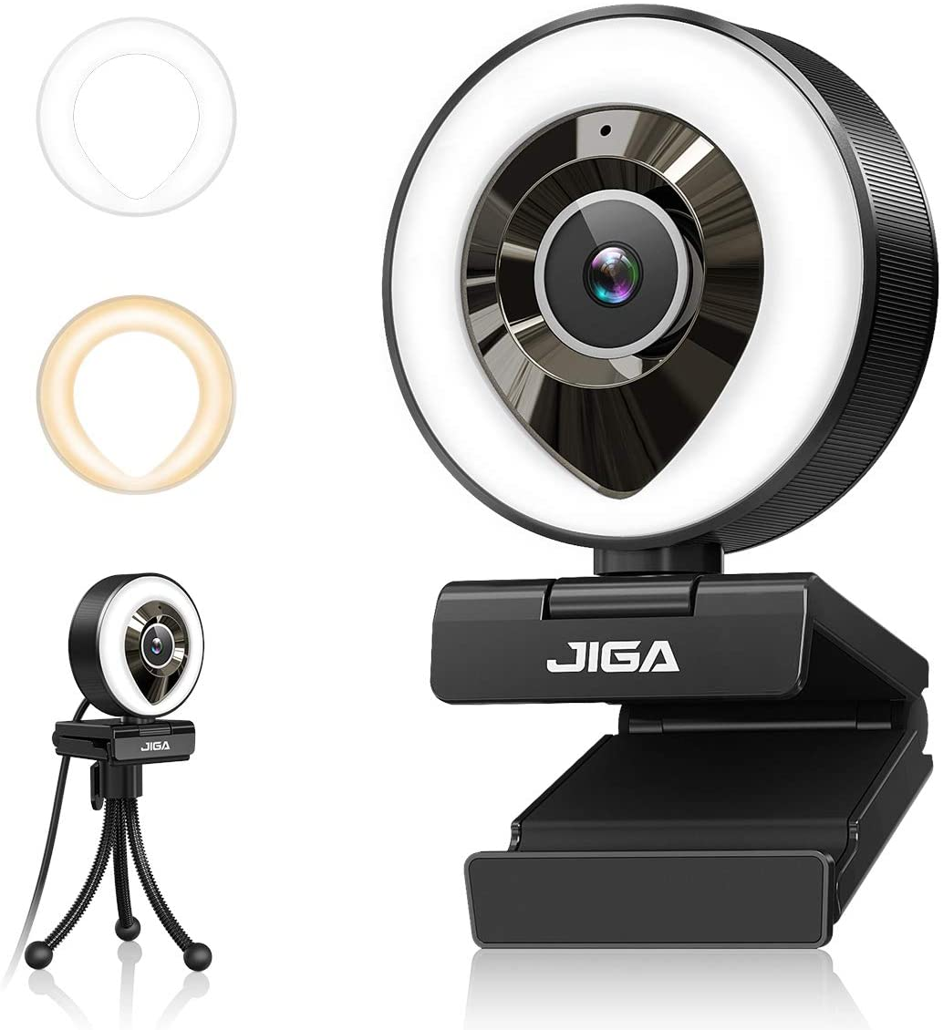 Streaming Webcam with Dual Microphone 1080P Adjustable Right Light Pro Web Carmera Advanced Auto-focus with Tripod JIGA Gaming Webcam for Xbox Facebook YouTube Streamer Conferencing (White/Warm Light)