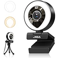 Streaming Webcam with Dual Microphone 1080P Adjustable Right Light Pro Web Camera Advanced Auto-Focus with Tripod JIGA…