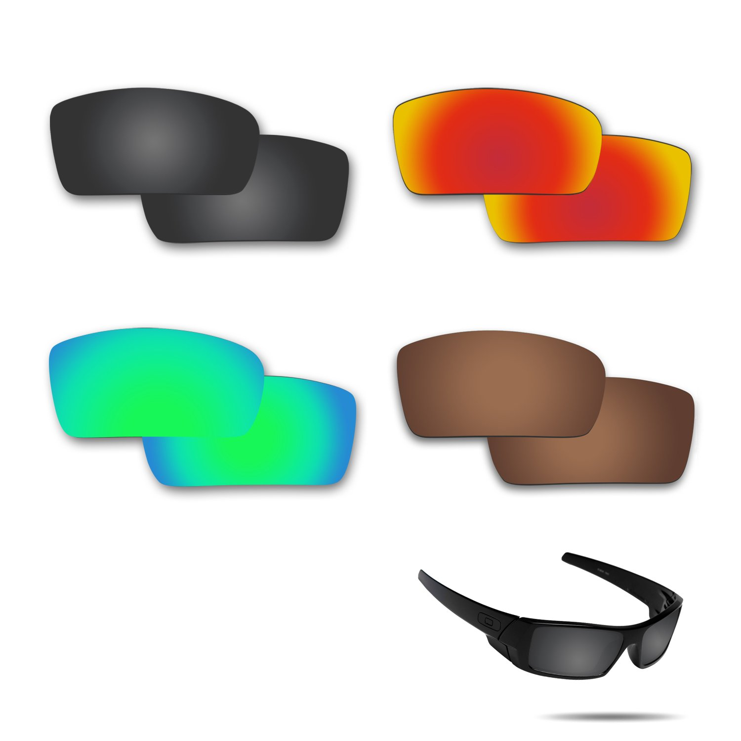 Fiskr Anti-saltwater Polarized Replacement Lenses for Oakley Gascan Sunglasses 4 Pairs by Fiskr