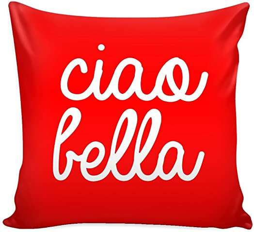 Italy Throw Pillow Cover with Insert Ciao Bella Decorative Charming Italian-Themed Designs – Personalized D cor – Square Cushion is Ideal for Chair, Couch, Bed, Sofa, Living Room, Bedroom