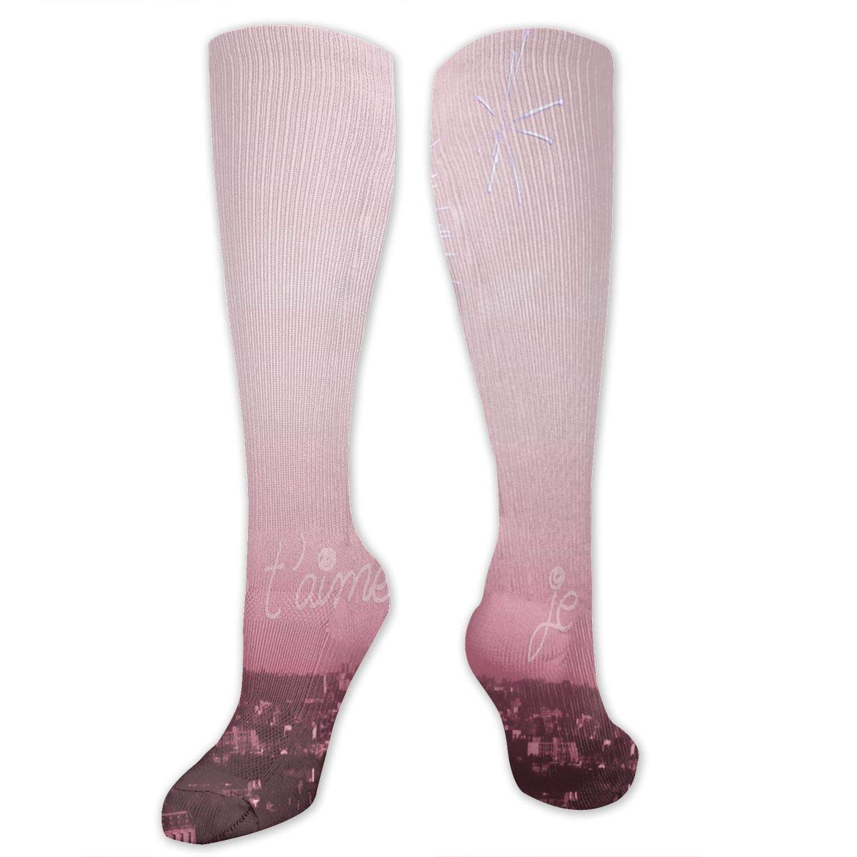 620cec6496a3 Amazon.com  Stretch Socks Pink Paris Soccer Socks With Soccer Balls Over  The Calf For Running