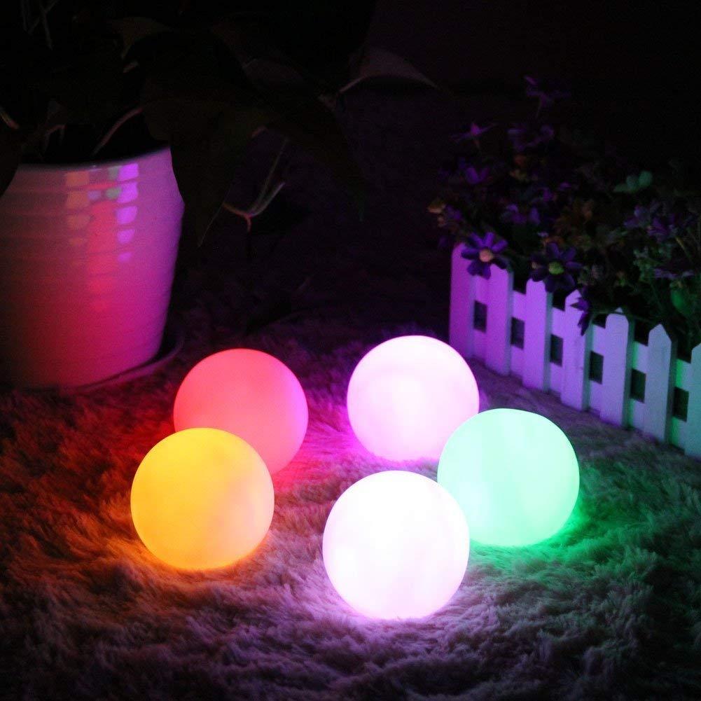 Paquete de 6 7.8cm // 3.07 LED Ball Mood Lights Luz de Noche de Bola de Piscina LED Flotante con 7 Luces de Color de Modo para Ni/ños Luz de Noche LED de Interior al Aire Libre