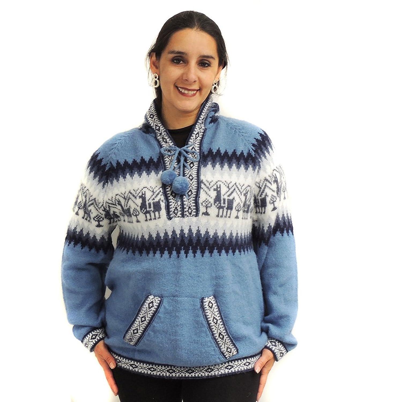 SWEATER Hoodie V Neck alpaca and blend made in PERU INCA