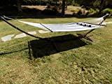 Petra Leisure 15 Ft. Indoor/Outdoor Heavy Duty Brown Steel Arc Hammock Stand w/Premium Quilted Hammock Bed. (Elegant Blue)